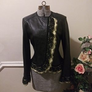EUC Peter Nygard Black Leather Lace Trimmed Jacket